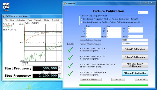 TAPR Vector Network Analyzer calibration