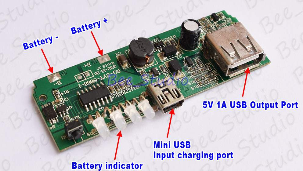 USB 5V 1A Mobile Power Bank 18650 Battery Charger Module for Phone Bluetooth DIY